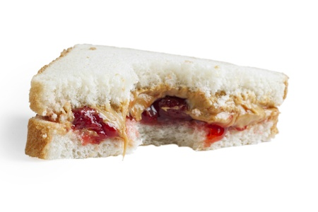 peanut butter and jelly: Peanut Butter Jelly on a white bread Stock Photo
