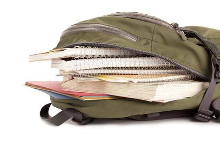 school bag: Immagine del sacchetto di scuola pieno di materiale scolastico