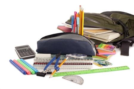bookbag: Image of school equipments against white background