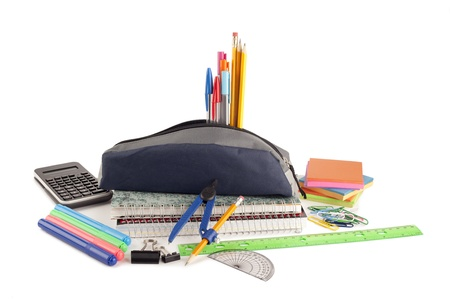 educational tools: Close-up image of a group of school supplies lying on white surface Stock Photo