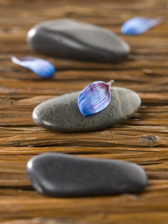 magnetic stones: Closeup shot of spa stones with blue petals lying on a weave wooden background