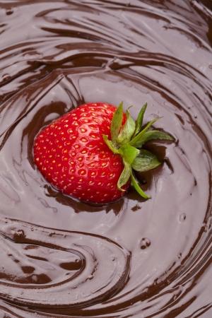 chocolate derretido: Retrato de una fresa sumergi� en chocolate derretido delicioso