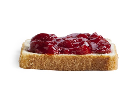 Toast bread with strawberry jam isolated on Stock Photo - 17486076