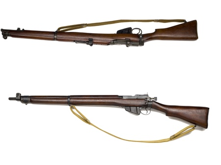 An image of two historical rifles against white background