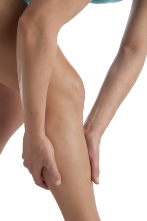 calf pain: Cropped image of womans leg suffering from calf pain