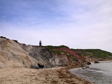 martha: Image of beach with watchtower and sky in background. Stock Photo