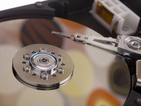A hard disk reflecting a pattern with large dots Stock Photo - 17486011