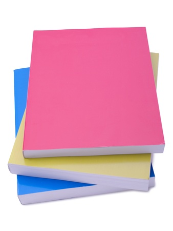 educational tools: Pink, yellow and blue books  Stock Photo