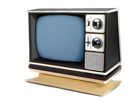 A retro television on a white background 版權商用圖片