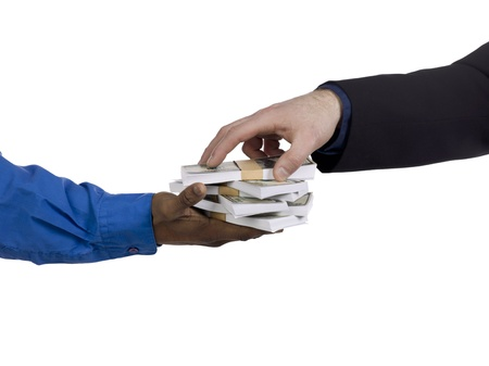 Detailed shot of businessmen with stack on money bundles. Model: WInter Bourne Stock Photo - 17496717