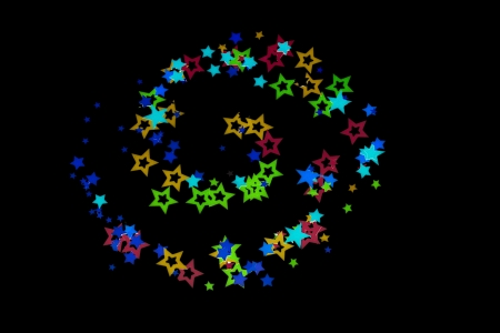 Close-up shot of decorative colorful stars arranged on plain black background. Stock Photo - 17496701