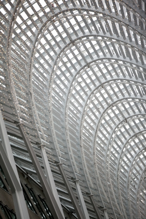 Low angle cropped shot of a arched structure with steel frames. Stock Photo - 17491091