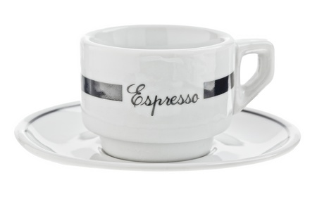 空のコーヒー カップとソーサー 写真素材