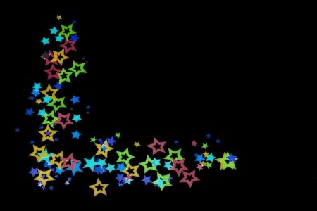 Close-up shot of decorative star shape design arranged on plain dark background. Stock Photo - 17496667