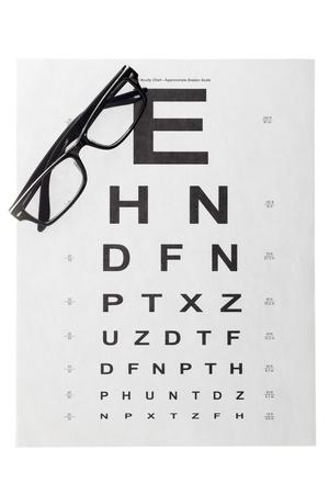 sight chart: Close-up shot de vista gr�fico de prueba y gafas negras.