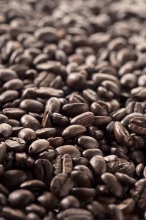 caffeine molecule: Coffee beans in a macro image