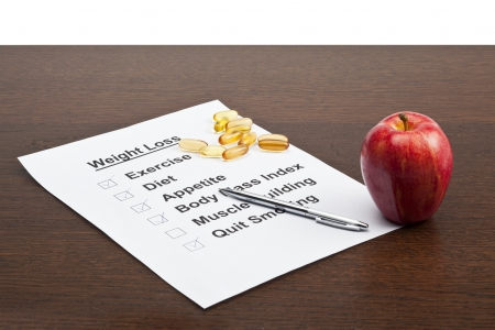 An illustration stating a diet plans with a pill and an apple on the side illustration