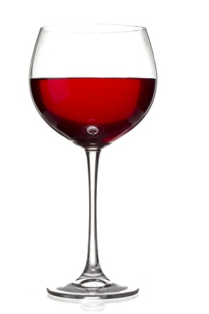 Glass of red wine isolated over white background
