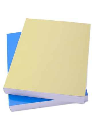 educational tools: Yellow and blue books isolated in a white background