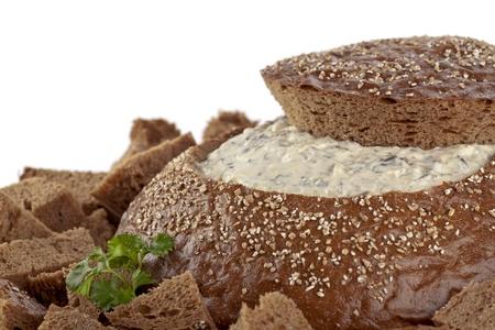 pumpernickel: Yummy pumpernickel bread stuffed with spinach dip