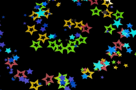 Close-up of star shape confetti isolated over black background Stock Photo - 17516354