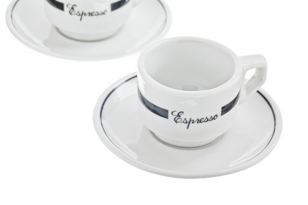 Two empty espresso cups with saucer Imagens