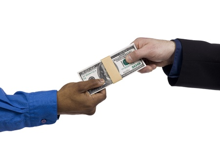 loaning: Image of two hands holding the bunch of US dollar isolated on a white background