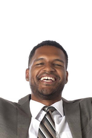 aieron: Close-up image of happy businessman isolated on a white surface Stock Photo