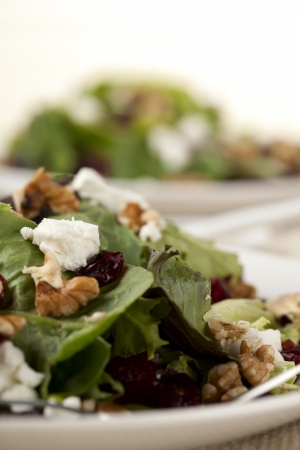Macro image of Ceasar salad on plate placed in a wooden table photo
