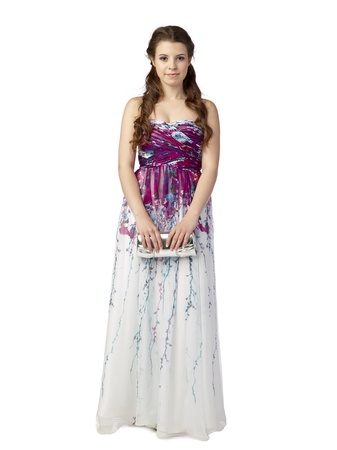 prom queen: Portrait of beautiful teenage lady against white background Stock Photo