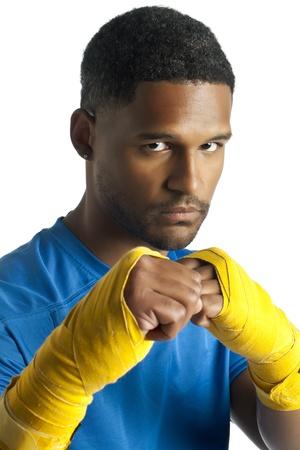 aieron: Closed up portrait of a male boxer