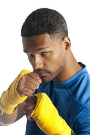 aieron: Closed up portrait of an aggressive boxer in fighting stance Stock Photo