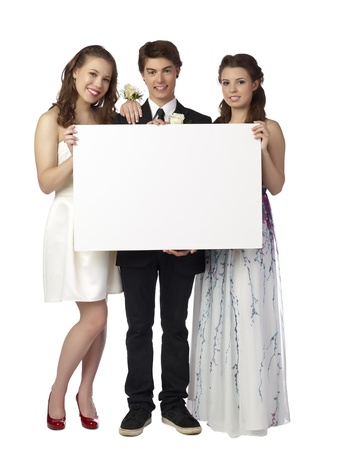 prom queen: Beautiful Teenagers presenting a white empty board in a close-up image
