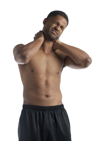 blackman: Portrait of black man having neck pain against white background