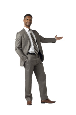 aieron: Businessman Present something isolated on white Stock Photo