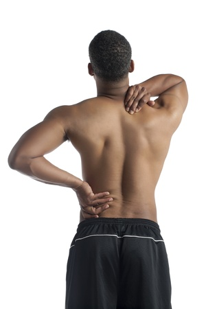 Back view of dark man with shoulder pain isolated on a white background Stock Photo - 17518910