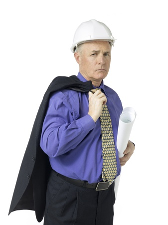 engineer's: Portrait of architect holding a plan against white background