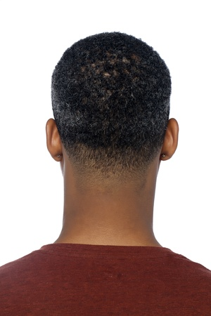 behind: Closed up shot of a black mans head from behind