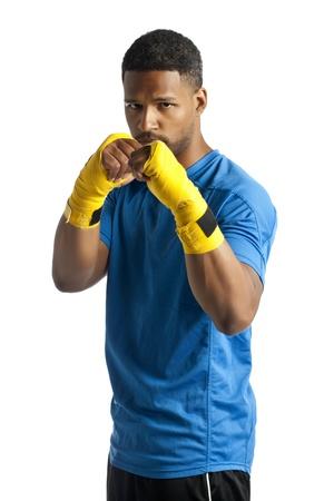aieron: Portrait of a black man doing a boxing stance Stock Photo