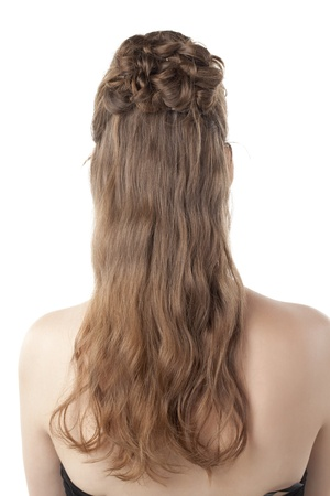 Rear view shot of brunette lady with a beautiful curly brown hair