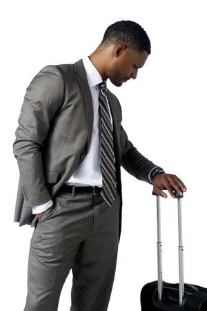 aieron: Ritratto di uomo d'affari guardando il suo orologio su sfondo bianco