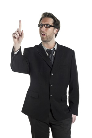 Portrait of a businessman making funny face while counting isolated on a white background Stock Photo - 17520155