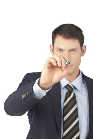 Businessman pointing at you using a green pen Stock Photo - 17520111