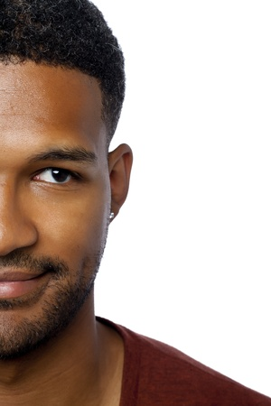 Cropped face of man smiling over the white surface Stock Photo - 17520981
