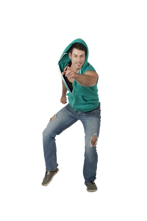 hooded vest: façade shot of dancing man pointing at you