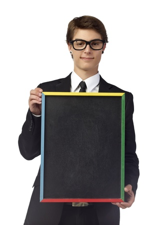 Portrait of good looking man holding an empty black board isolated on a white surface Stock Photo - 17519932