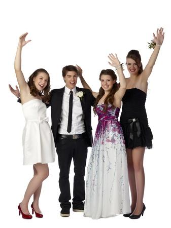 흰 배경에 고립 된 무도회에 옷을 입고 청소년 그룹