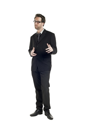 Portrait of handsome businessman standing and posing on a white background Stock Photo - 17519323