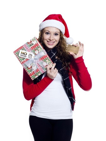 Portrait of a happy female with her Christmas present and a placard, Model photo