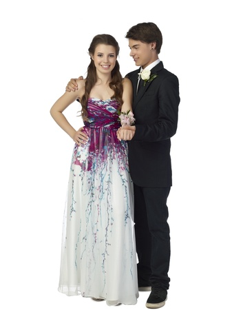 A happy teenage couple in prom night